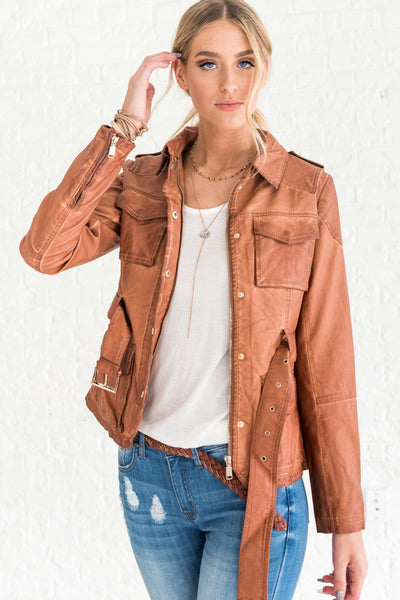 Cognac Brown Faux Leather Jackets for Women