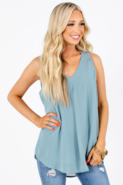 Green Flowy Silhouette Boutique Tank Tops for Women