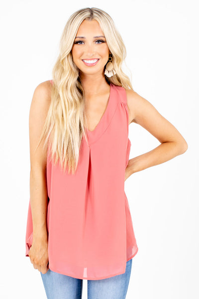 Pink Pleated Accent Boutique Tank Tops for Women