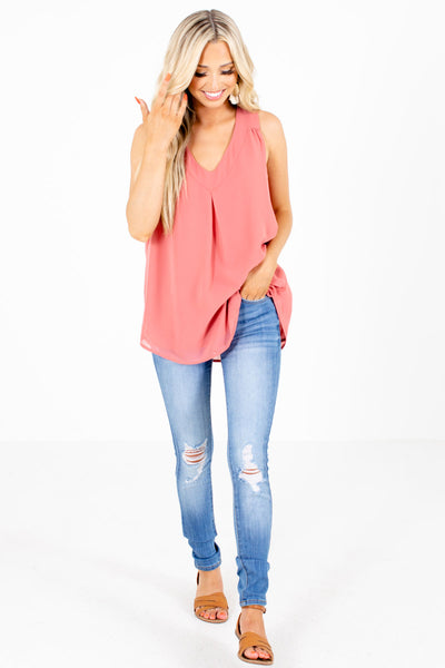 Women's Pink V-Neckline Boutique Tank Top