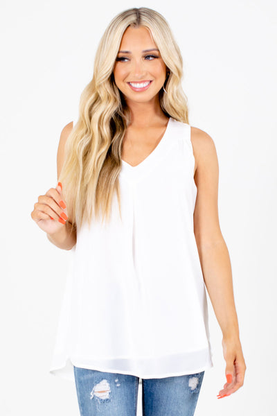 White Cute and Comfortable Boutique Tank Tops for Women