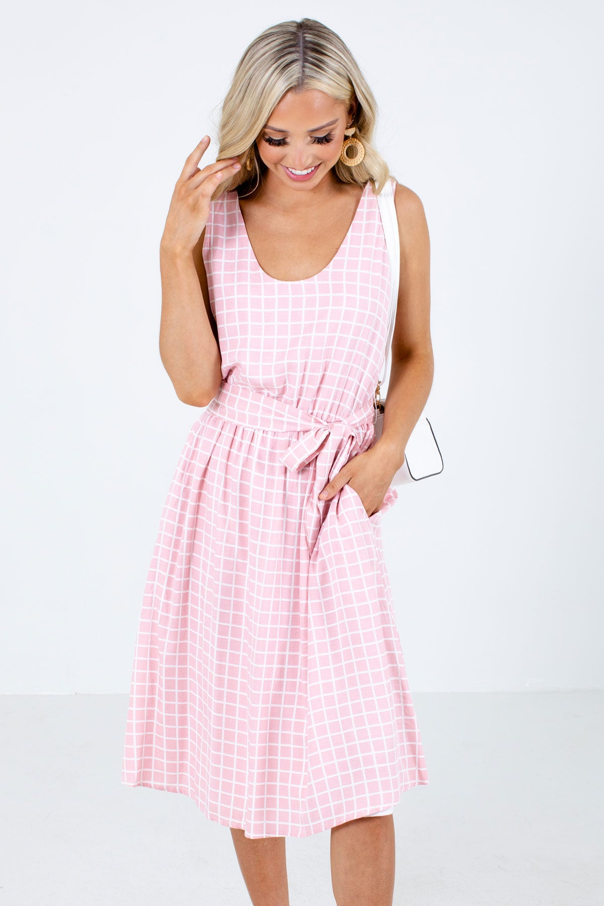 Pink and White Grid Patterned Boutique Midi Dresses for Women