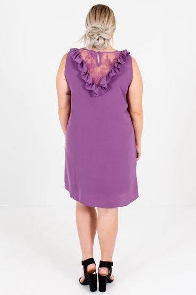 Women's Purple Ruffle Accented Plus Size Boutique Mini Dress