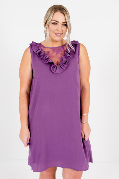 Purple Semi-Sheer Floral Lace Neckline Plus Size Boutique Mini Dresses for Women