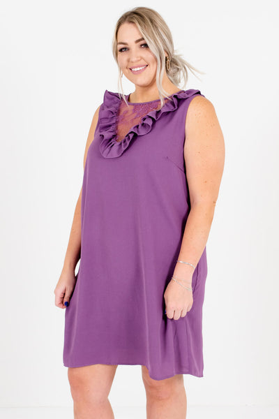 Women's Purple Sleeveless Style Plus Size Boutique Mini Dress