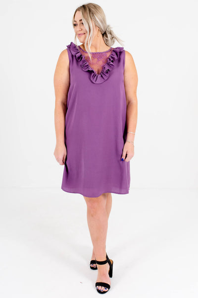 Purple Cute and Comfortable Plus Size Boutique Mini Dresses for Women