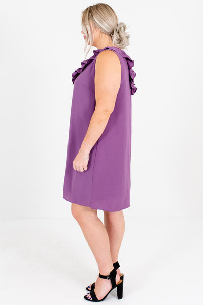 Purple Fully Lined Plus Size Boutique Mini Dresses for Women