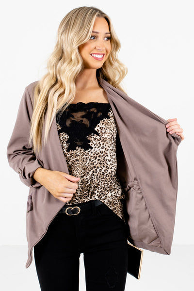 Women's Brown Business Casual Boutique Jacket