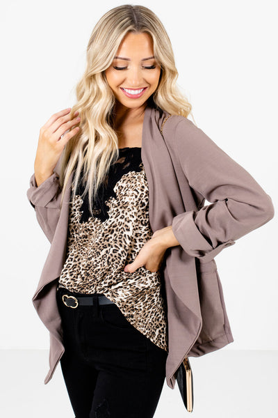 Women's Brown Cuffed Sleeve Boutique Jacket