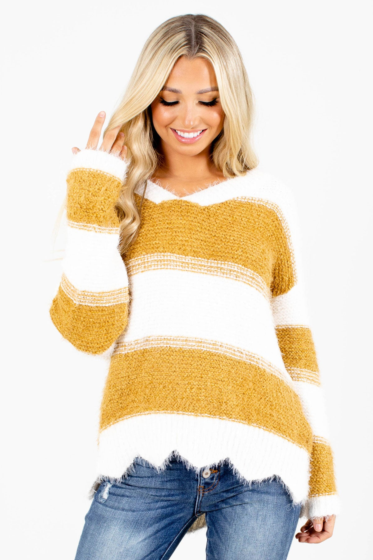 Mustard Yellow and White Striped Boutique Sweaters for Women