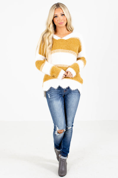 Women's Mustard Cozy and Warm Boutique Sweater