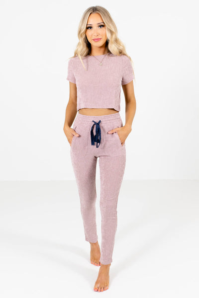 Pink Lightweight Textured Material Boutique Two-Piece Sets for Women