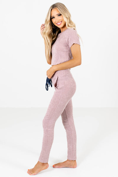 Pink Drawstring Elastic Waistband Boutique Pants Two-Piece Sets for Women