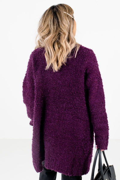 Women's Purple Boutique Cardigans with Pockets