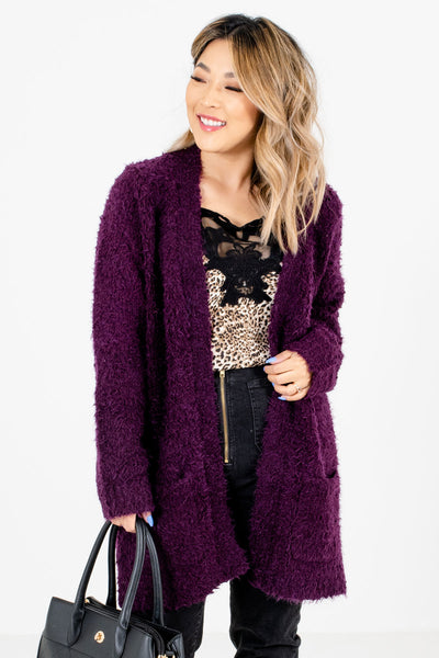 Purple Fuzzy Material Boutique Cardigans for Women