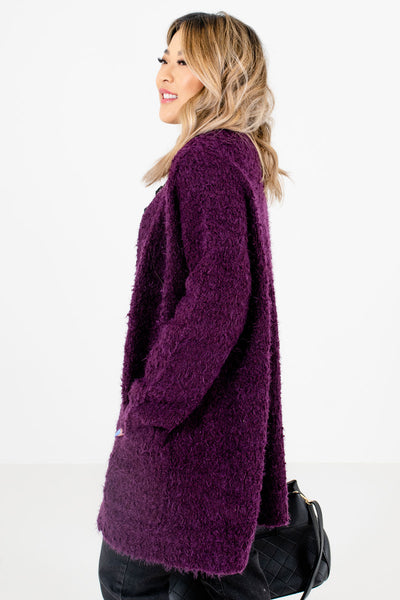Purple Oversized Fit Boutique Cardigans for Women
