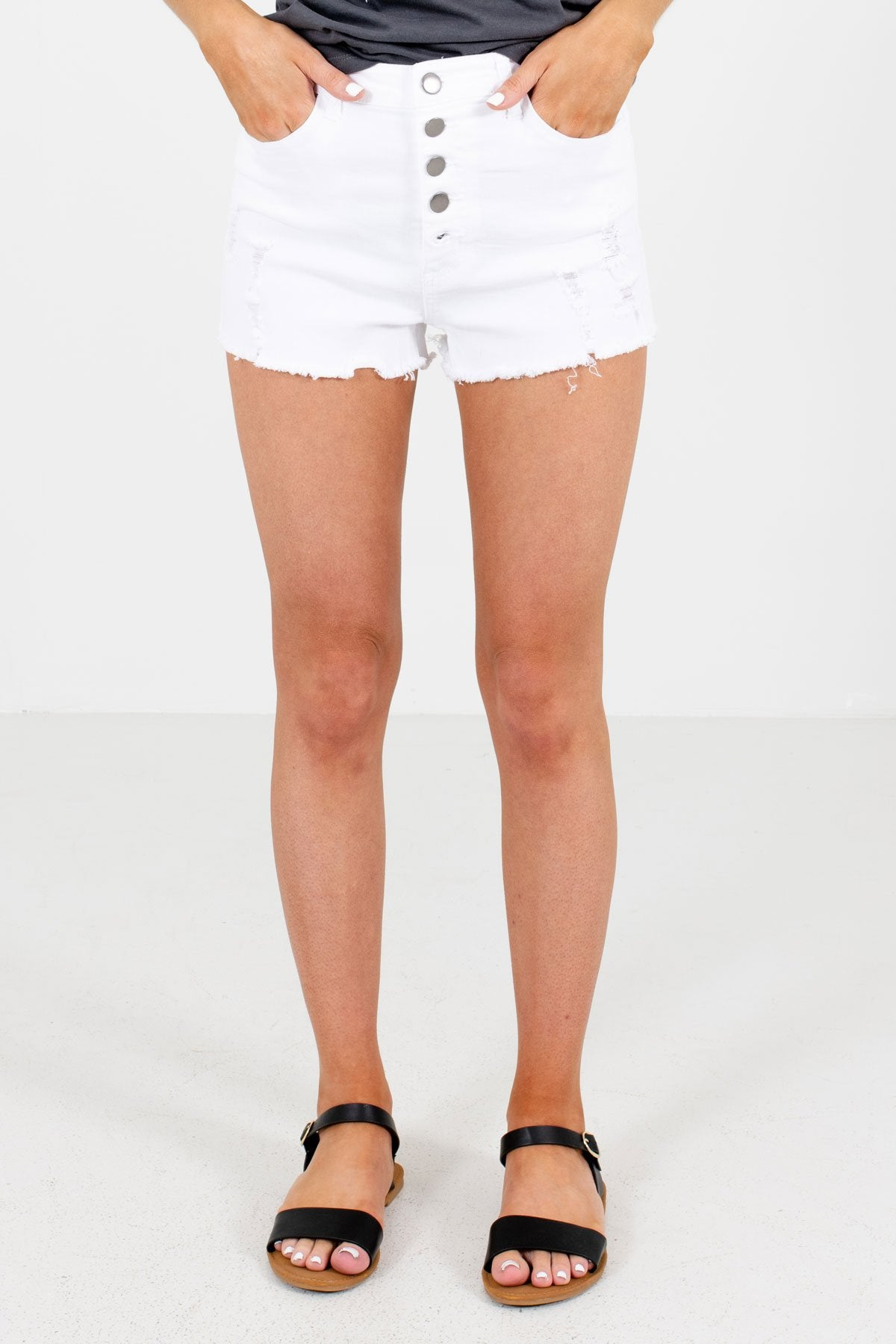 White Denim Frayed Hem Boutique Short Shorts for Women