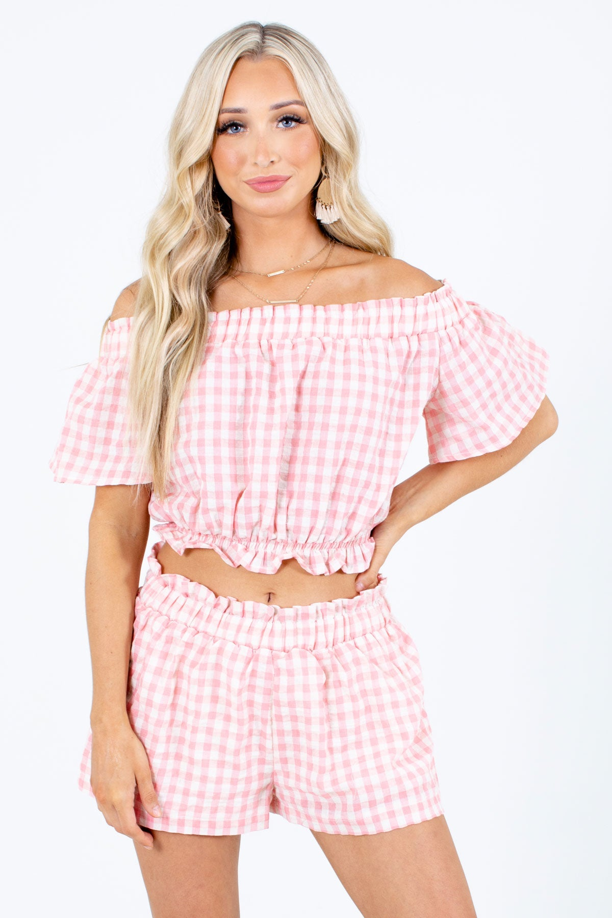 Pink and White Gingham Patterned Boutique Two-Piece Sets for Women