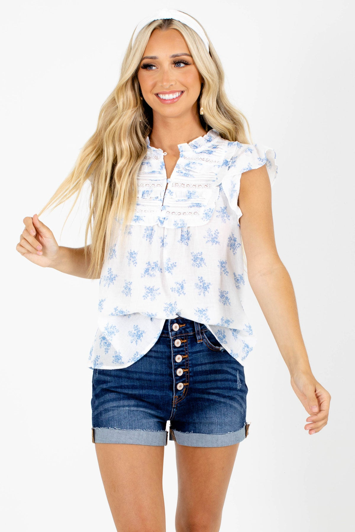 Blue and White Floral Patterned Boutique Blouses for Women