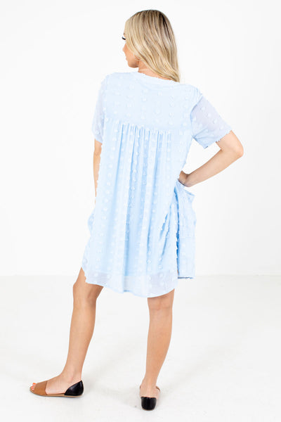 Women's Blue Pleated Accented Boutique Mini Dress