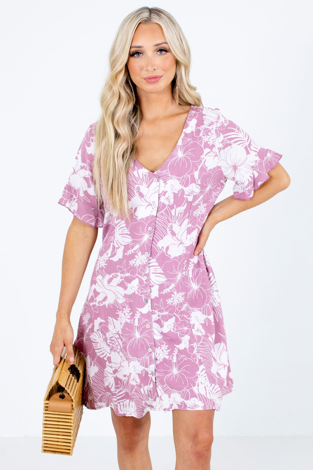 Purple Button-Up Front Boutique Mini Dresses for Women