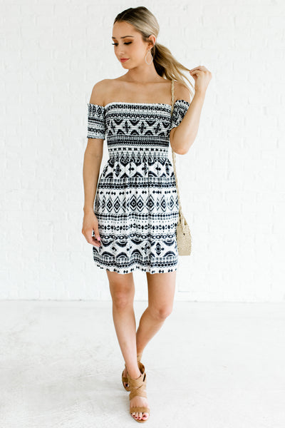 Navy Patterned Smocked Bodice Lace-Up Off Shoulder Mini Dress