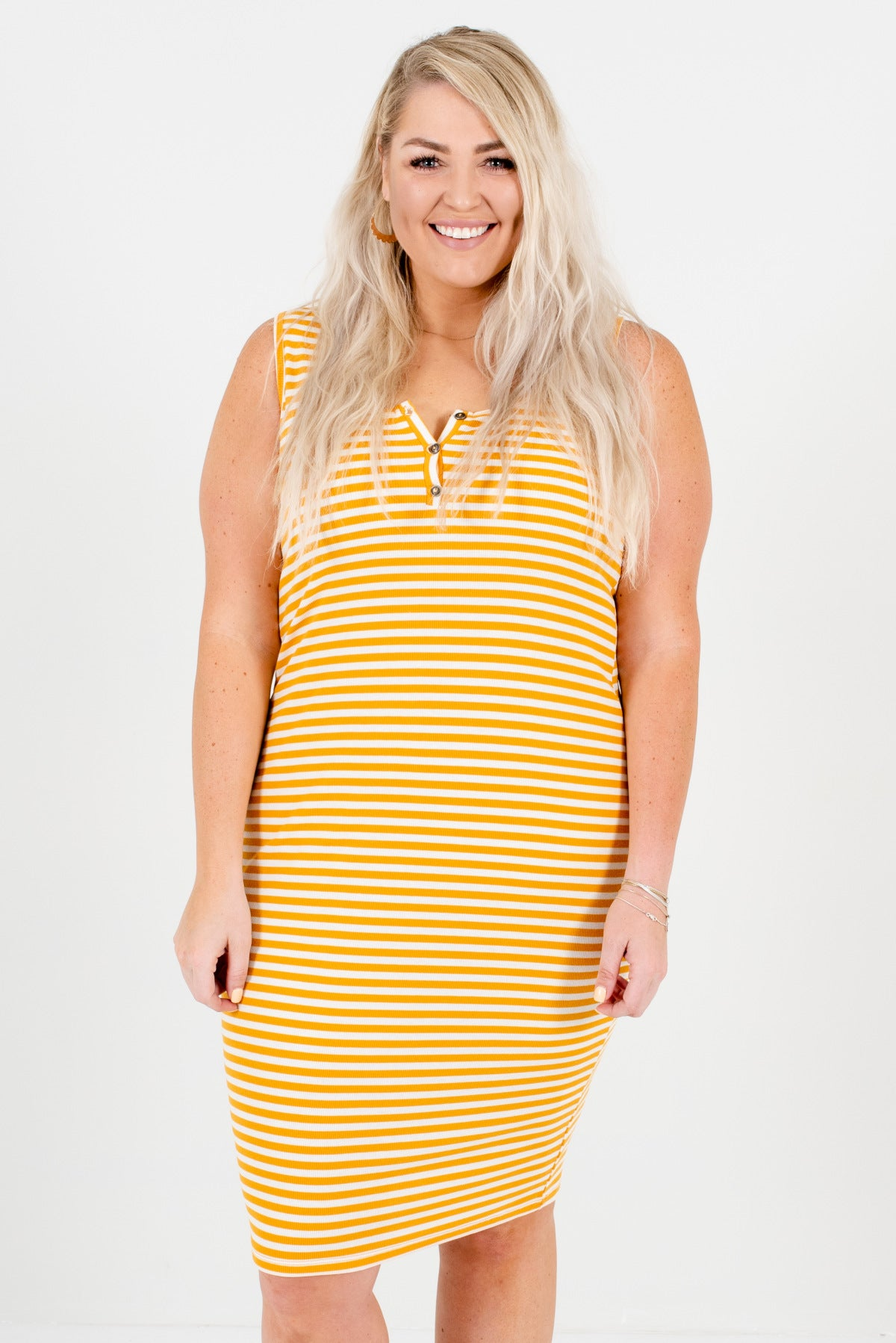 Mustard Yellow and White Striped Boutique Plus Size Knee-Length Dresses for Women