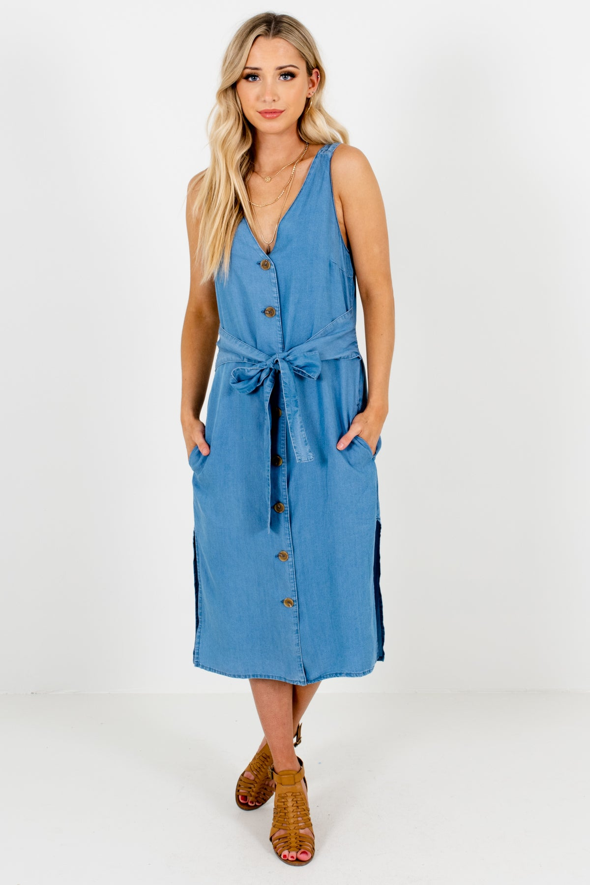 Denim Blue High-Quality Chambray Material Boutique Midi Dresses for Women