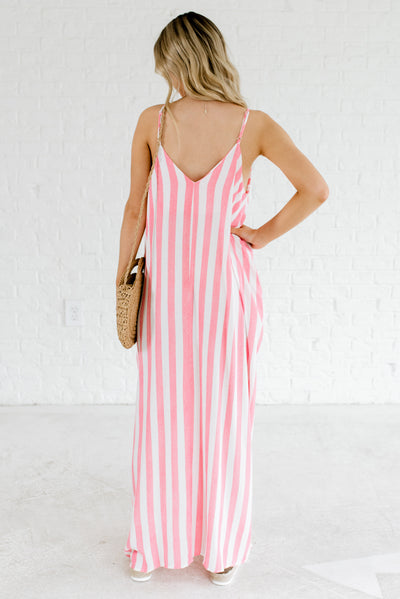 Women's Red and White Striped Boutique Dresses with Pockets