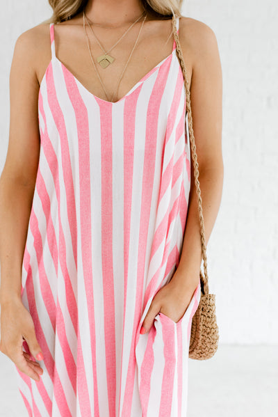 Red and White Striped Affordable Online Boutique Clothing for Women