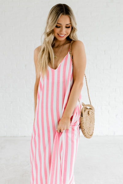 Summertime Feeling Red Striped Maxi Dress