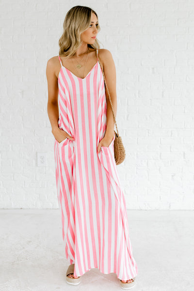 Women's Red and White Striped Spring and Summertime Boutique Clothing