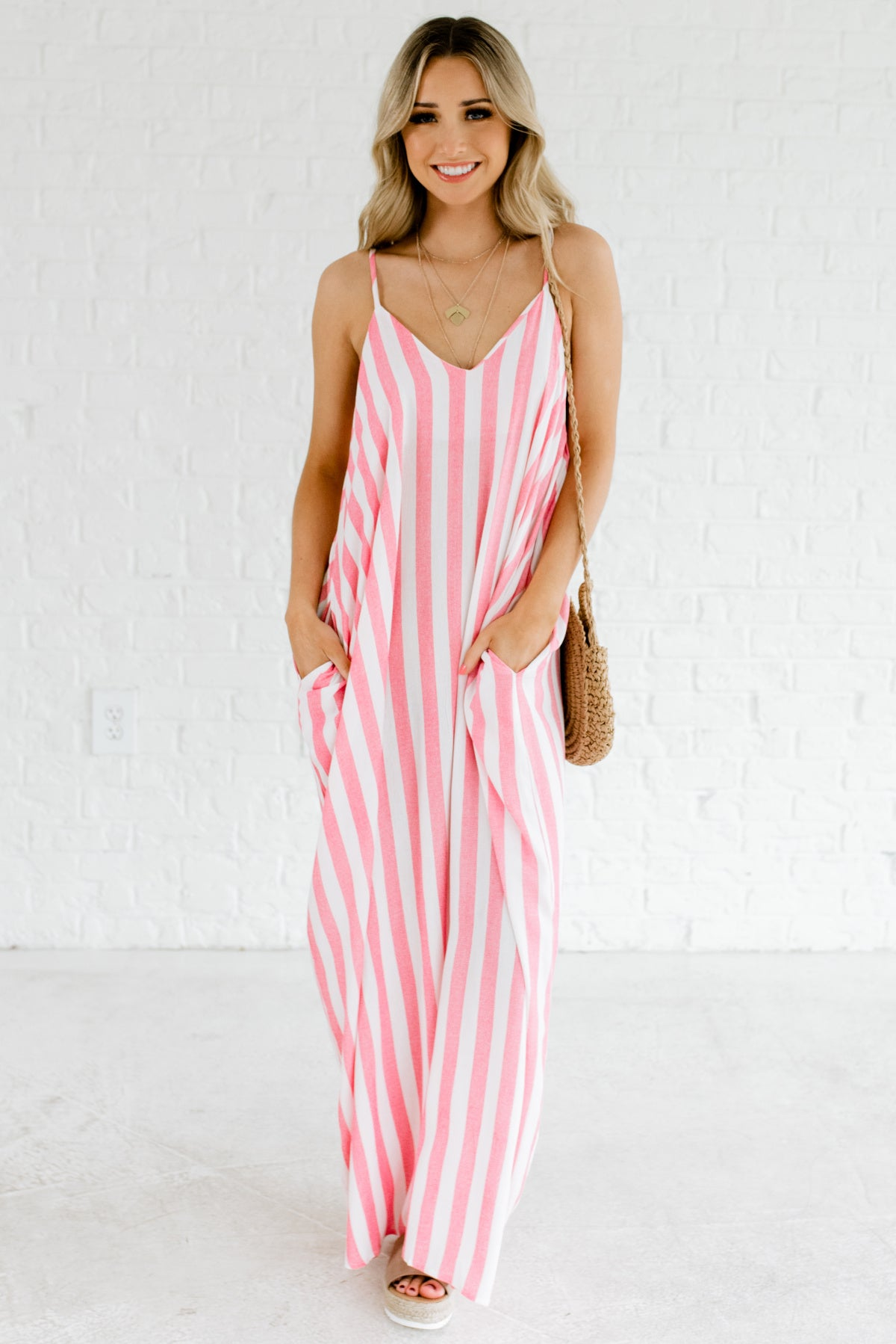 Red and White Striped Maxi Length Boutique Dresses for Women