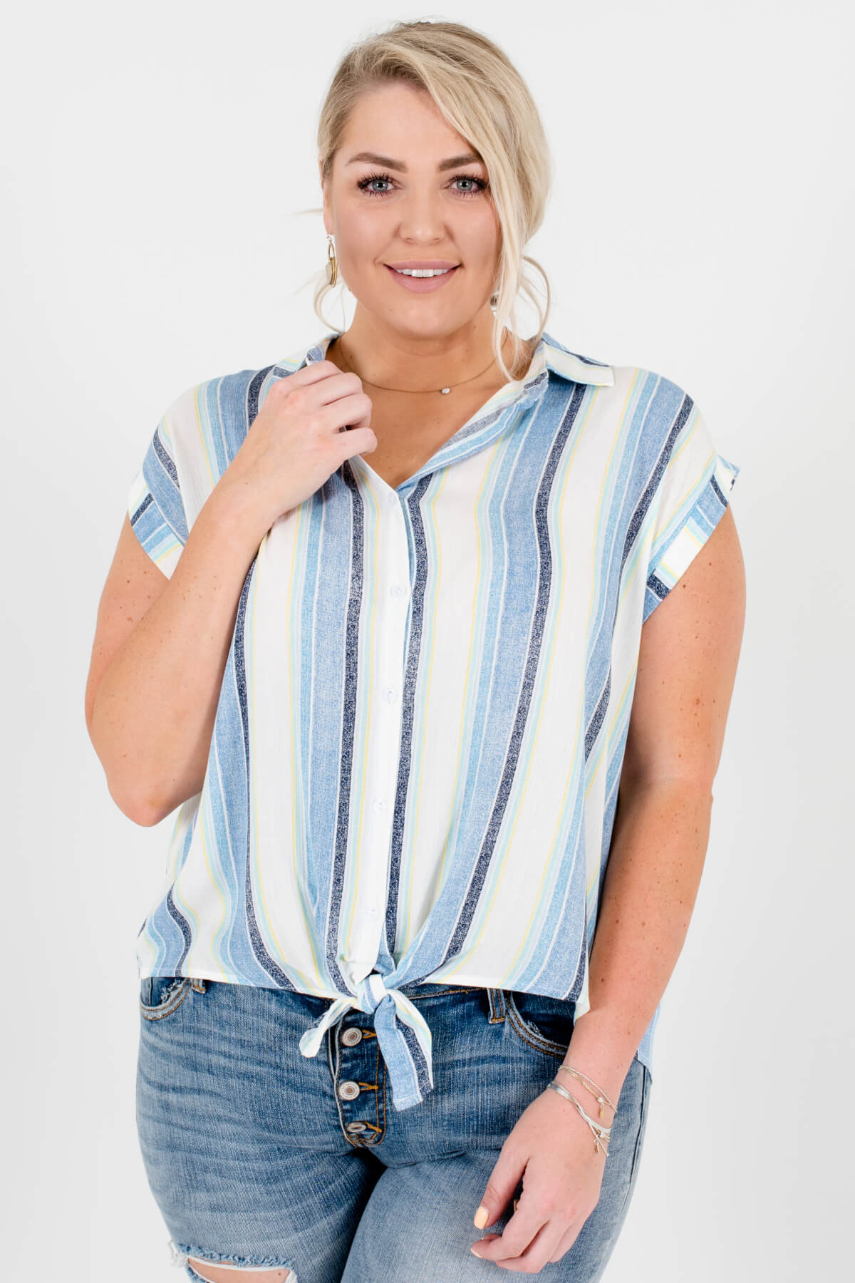 White Mint Navy Blue Yellow Striped Plus Size Button-Up Tie-Front Shirts