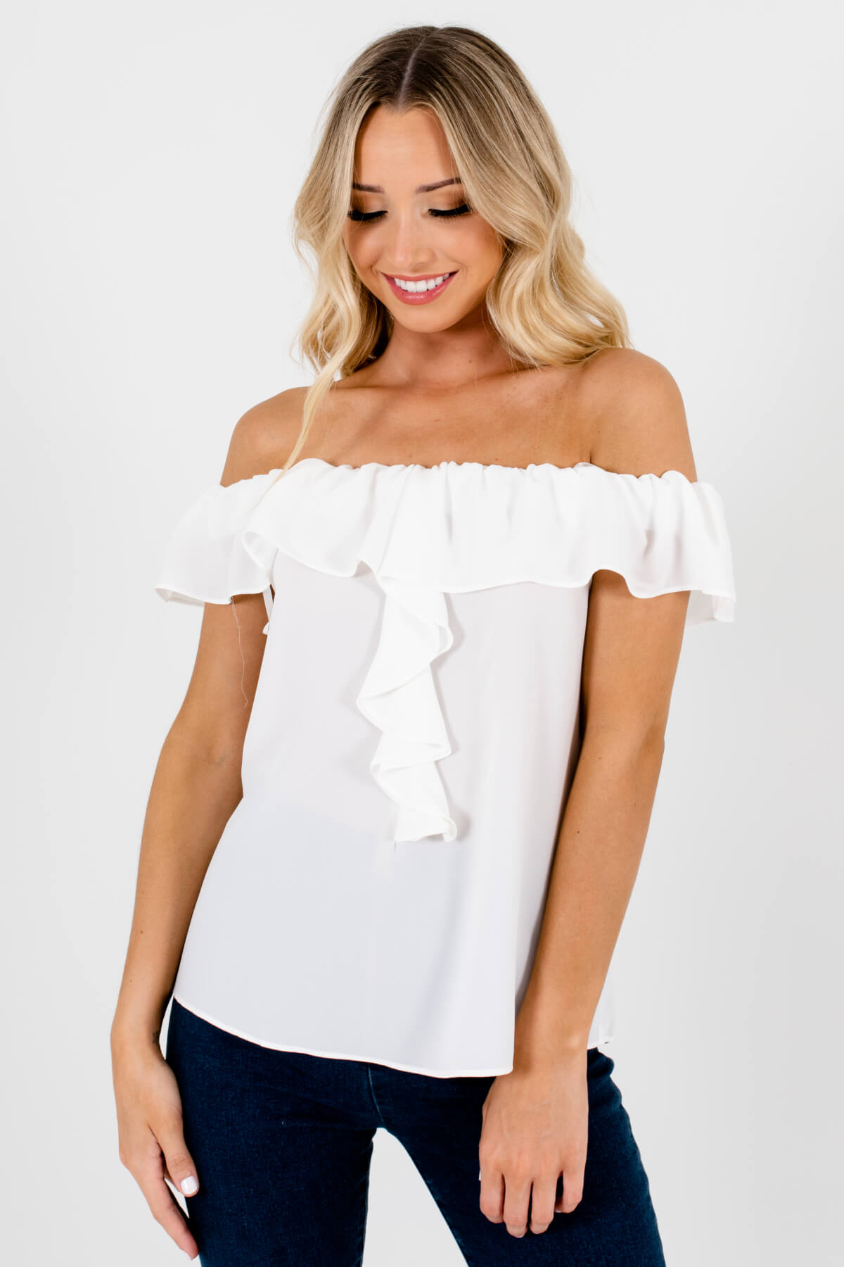 White Elastic Off Shoulder Style Boutique Tops for Women