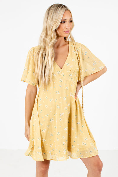 Women's Yellow Fully Lined Boutique Mini Dress