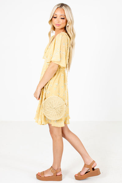 Yellow V-Neckline Boutique Mini Dresses for Women