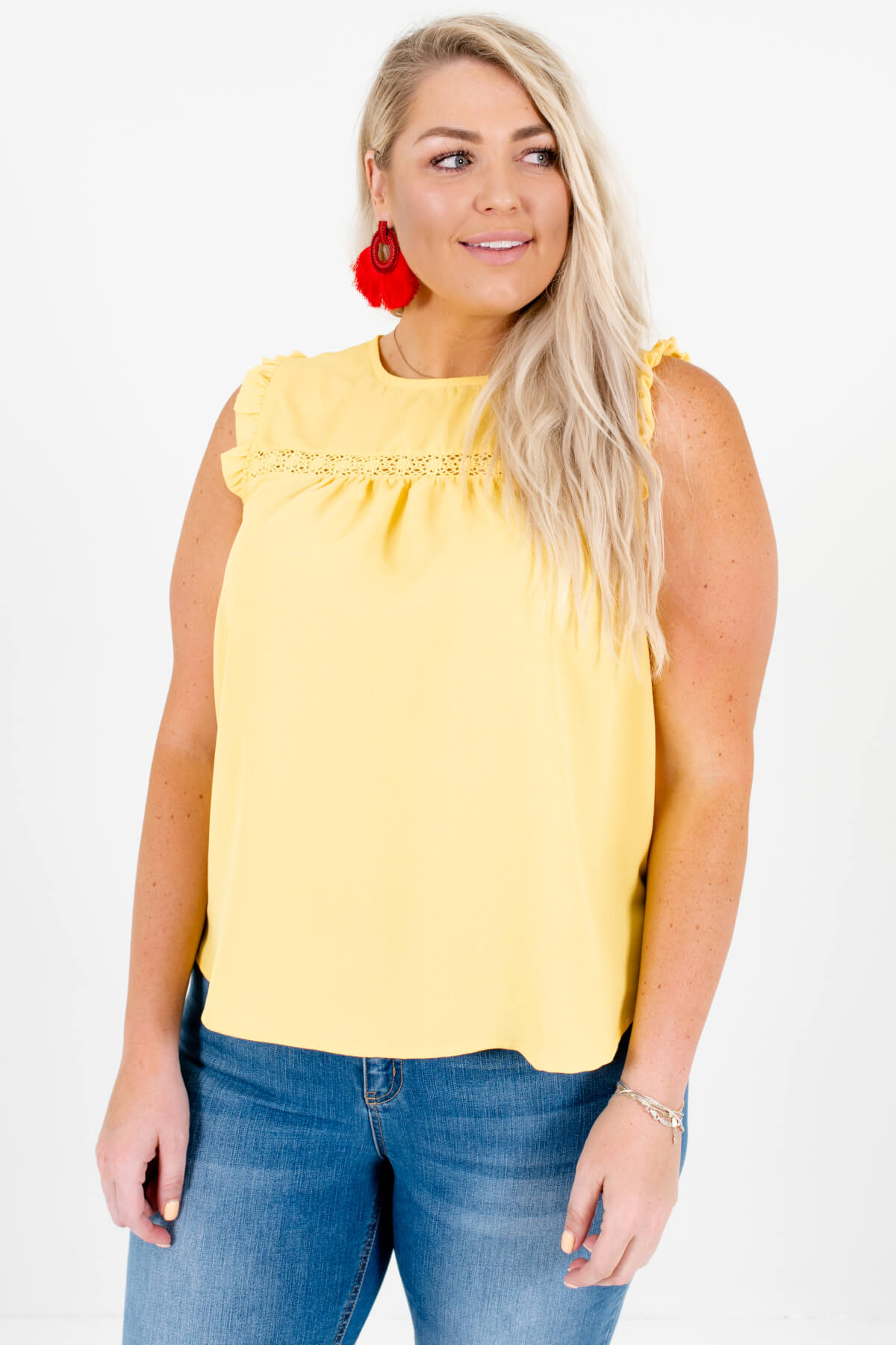 Yellow Crochet Detailed Bodice Plus Size Boutique Blouses for Women