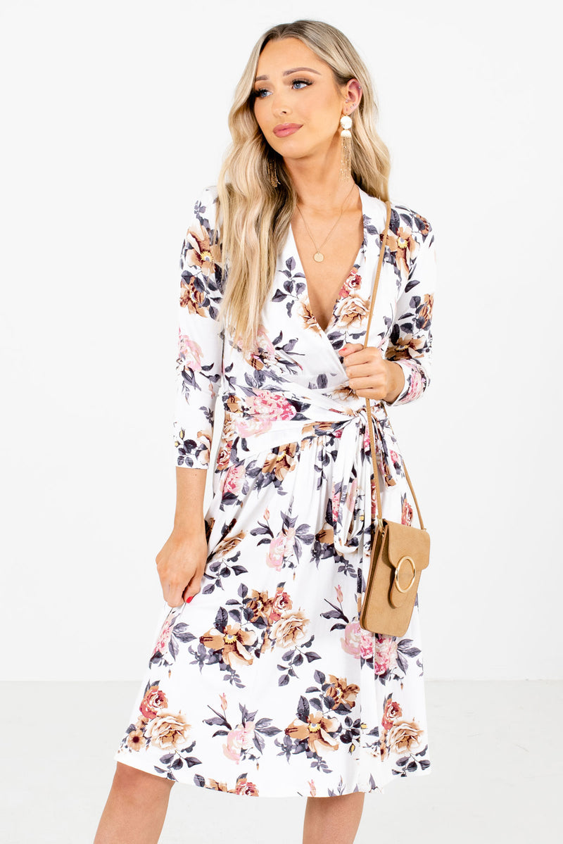 Sunday Kind of Love White Floral Knee-Length Dress