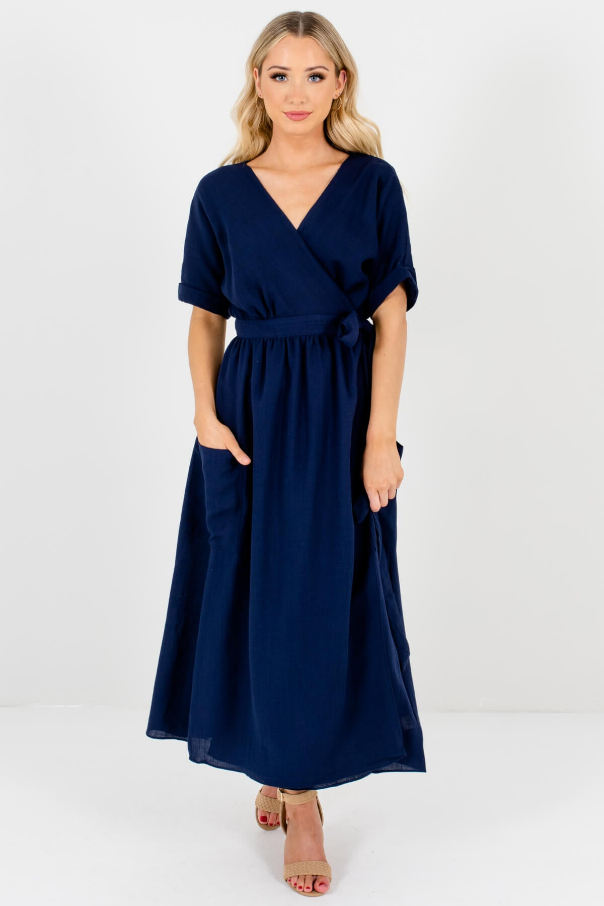 Navy Blue Wrap Maxi Dresses with Pockets Affordable Online Boutique