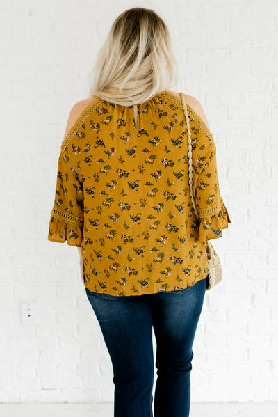 Mustard Yellow Women's Plus Size Floral Boutique Top