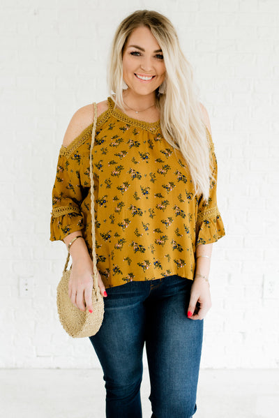 Mustard Yellow Women's Cute Plus Size Boutique Clothing