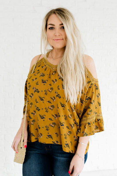 Mustard Yellow Cold Shoulder Plus Size Boutique Blouses for Women