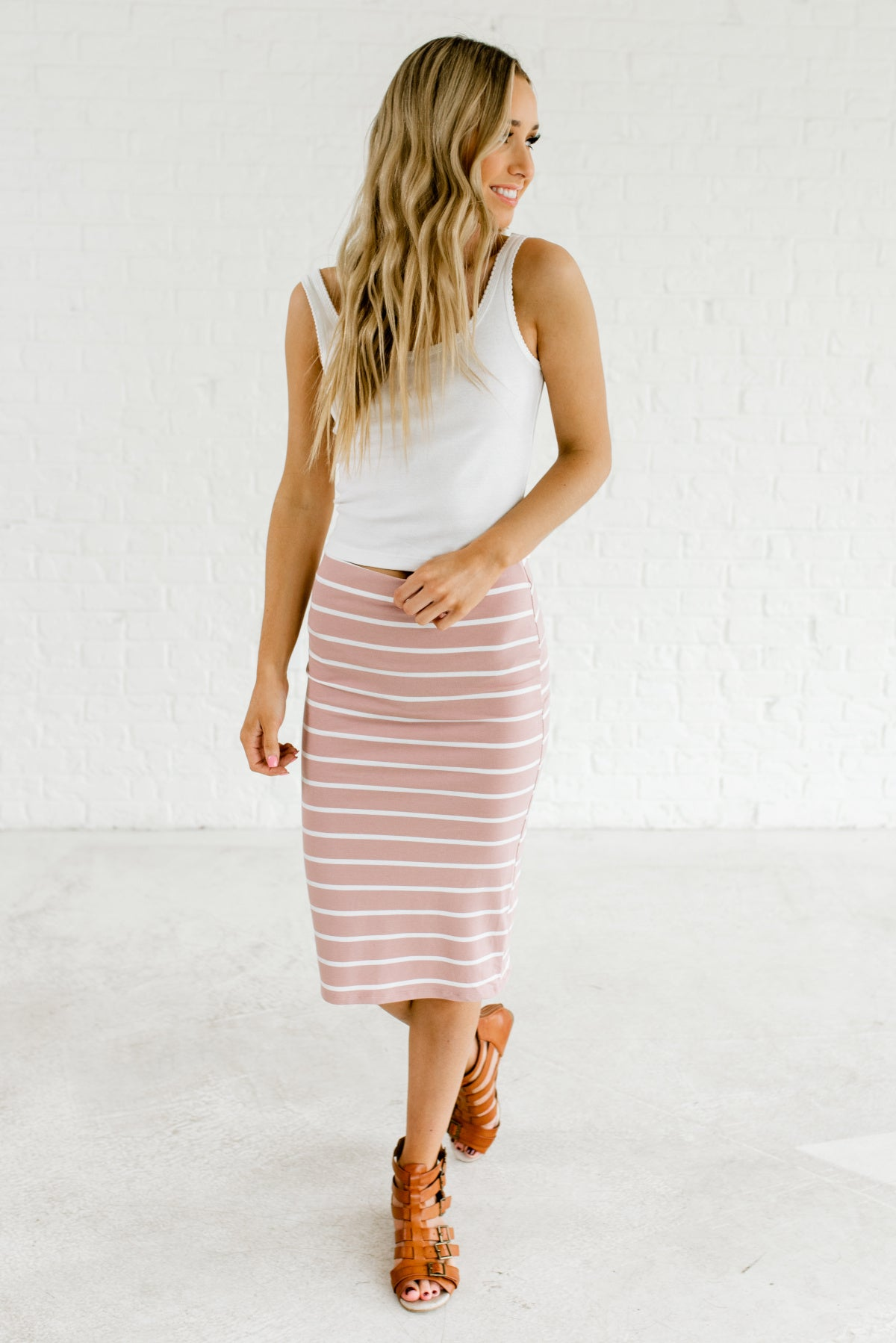 07894b8429 Light Mauve Pink and White Cute Boutique Women's Striped Skirt