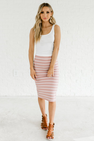 Light Mauve Pink and White Boutique Fitted Skirt with Elastic Waistband for Women