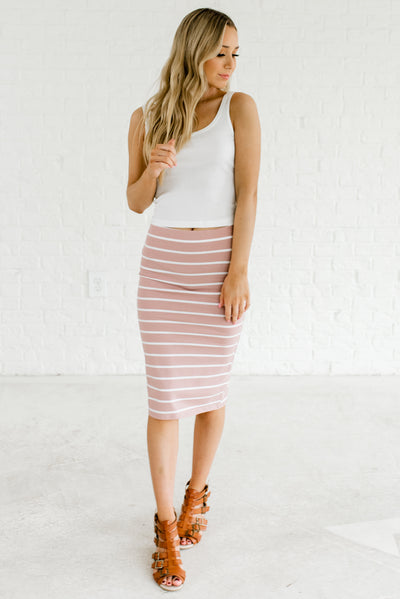 Light Mauve Pink and White Women's Business Casual Boutique Clothing