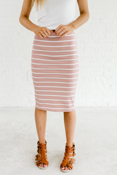 Light Mauve Pink and White Striped Boutique Knee-Length Skirts for Women