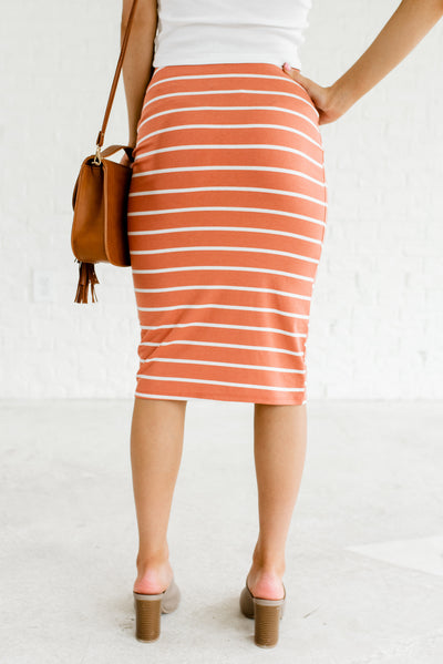 Terracotta Orange and White Striped Women's Pencil Style Boutique Skirt