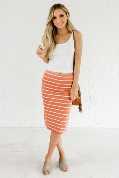 Terracotta Orange and White Striped Cute Knee-Length Boutique Knee-Length Skirts for Women