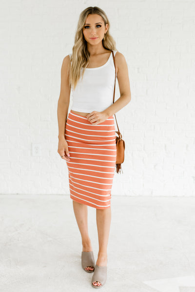 Terracotta Orange and White Women's Business Casual Boutique Clothing